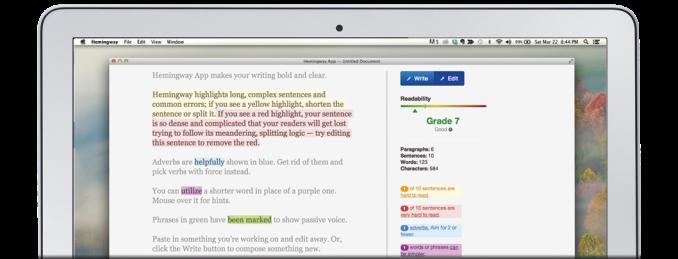 content marketing editing app hemingway in action