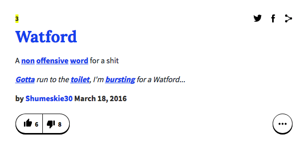 a definition of Watford on Urban Dictionary